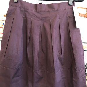 DKNY Prune/Wine Pleated Cotton Blend Skirt